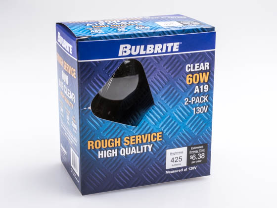 Bulbrite 107260 60A/CL/RS-2PK 60W 130V Clear A19 Rough Service Bulb, 2 Pack E26 Base