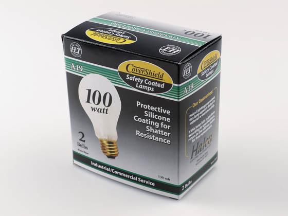 Halco Lighting 6143 A19RS100/CS SAFETY Halco CoverShield 100W 130V A19 Rough Service Safety Coated Bulb, E26 Base