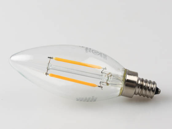 Bulbs.com 301602 B11 120V 2.8W 25WE 827 E12 DIM G1 FIL FG CL ES Dimmable 2.8W 2700K Decorative Filament LED Bulb