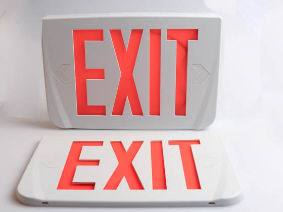 Emergi-Lite WPREMUR LED Exit Sign, Red Lettering, 120-277V Only, Styled Corners, No Battery
