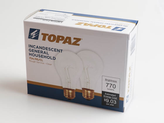 Topaz Lighting 79303 75A/RS-CL-51 Topaz 75W 130V A19 CLEAR Rough Service Bulb, 4 Pack, E26 Base