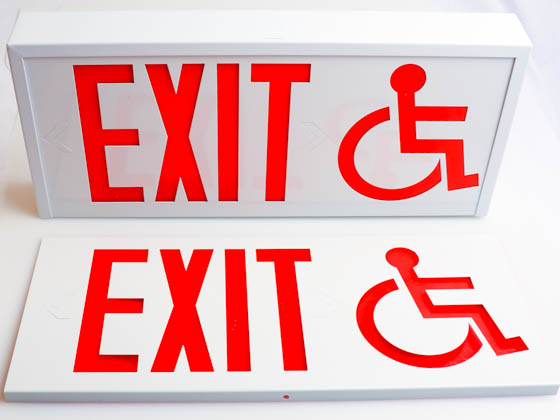 Exitronix CT700E-WB-WH-S/ADA Steel Exit Sign Featuring Wheelchair Accessibility Symbol