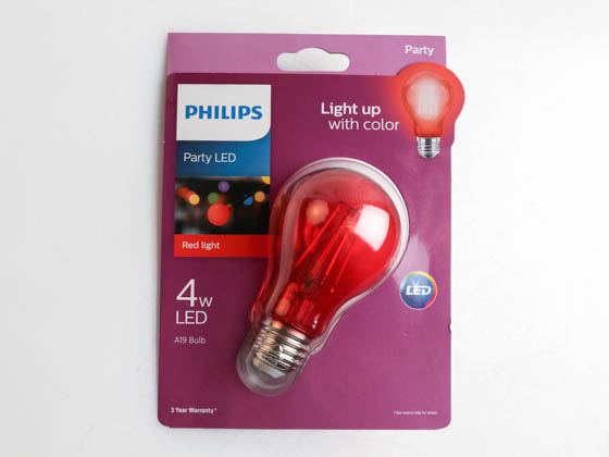 Philips Lighting 538207 4A19/LED/RED/G/E26/ND Philips Non-Dimmable 4 Watt Red A19 Filament LED Party Bulb