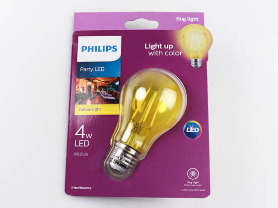 Philips Non-Dimmable 4 Watt Yellow A19 Filament LED Party