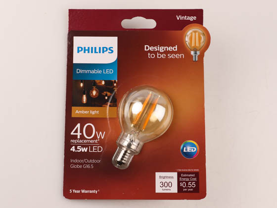 Philips Lighting 537597 4.5G16.5/VIN/820/E12/CL/DIM Philips Dimmable 4.5W 2000K Vintage G-16.5 Filament LED Bulb, Outdoor Rated, Title 20 Compliant