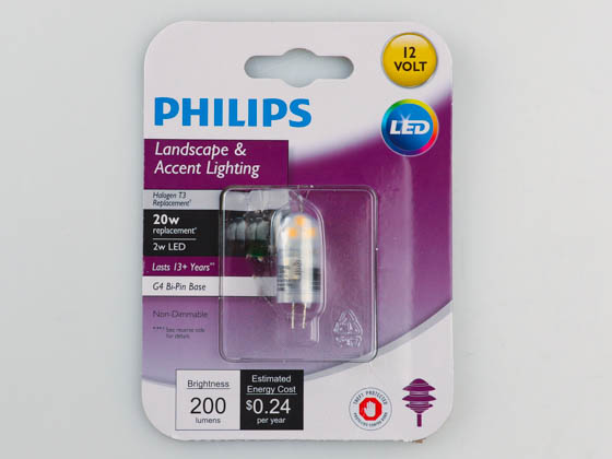 Philips Lighting 477174 2T3/LED/830/G4/ND 12V Philips Non-Dimmable 2W 3000K 12V T3 Mini LED Bulb, G4 Base, Enclosed Rated, Title 20 Compliant