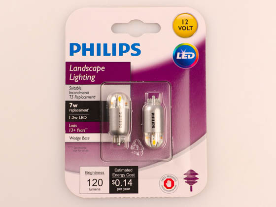 Philips Lighting 463448 1.2T5/SPC/830/ND/12V/BC/2PK 6/2 Philips Non-Dimmable 1.2W 12V 3000K T5 Wedge LED Bulb, Title 20 Compliant, Enclosed Rated