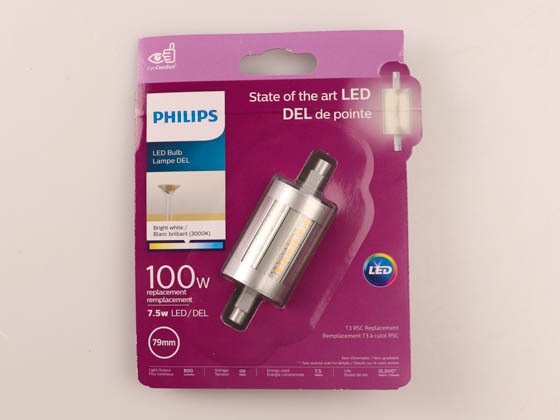 Philips Lighting 471946 7.5R7S/PER/830/ND/120V 4/1BC Philips Non-Dimmable 7.5W Double-Ended 3000K J-Type Clear LED Bulb, Title 20 Compliant