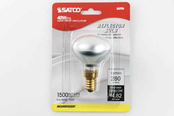 Satco Products, Inc. S4706 40R14/E14 Satco 40W 130V R14 Frosted Reflector Flood European E14 Base