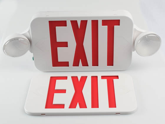 MaxLite 14101488 EXC-RW Maxlite LED Dual Head Exit/Emergency Sign With LED Lamp Heads, Battery Backup, Red Letters, Title 20 Compliant