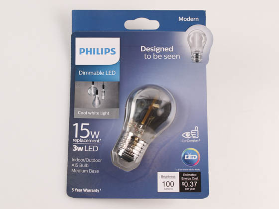 Philips Lighting 543165 3A15/MOD/840/E26/CL/GL/DIM Philips Dimmable 3W 4000K Smokey Finish Filament A15 LED Bulb, Wet Rated