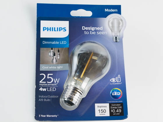 Philips Lighting 543116 4A19/MOD/840/E26/CL/GL/DIM Philips Dimmable 4W 4000K Smokey Finish Filament A19 LED Bulb, Wet Rated