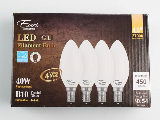 Euri Lighting VB10-3020ef-4 Dimmable 4.5W 2700K Decorative Frosted Filament LED Bulb, Enclosed Fixture and Wet Rated