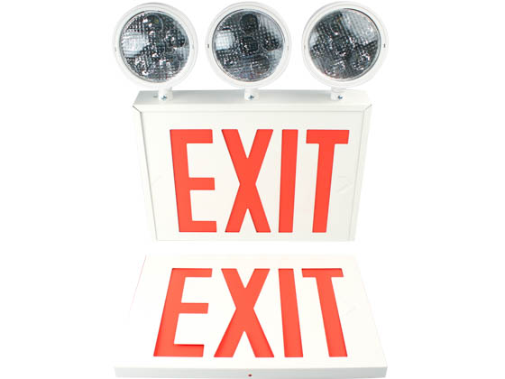 Exitronix VEXCL-8-S-WH-3 New York City Approved Steel Combination LED Exit, Triple Head Lights