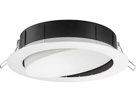"Lithonia Lighting 254HMK WF6 ADJ LED 27K30K35K 90CRI MW M6 Lithonia WF6 ADJ Wafer, 12W, 120V 2700/3000/3500K Color Switchable Dimmable LED 6"" Tilt Adjustable Gimbal Recessed Downlight, White"
