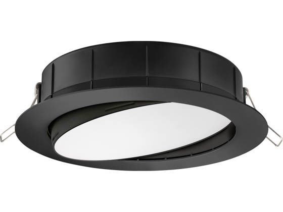 "Lithonia Lighting 254HNM WF6 ADJ LED 30K40K50K 90CRI MB M6 Lithonia WF6 ADJ Wafer, 12W, 120V 3000/4000/5000K Color Switchable Dimmable LED 6"" Tilt Adjustable Gimbal Recessed Downlight, Black"