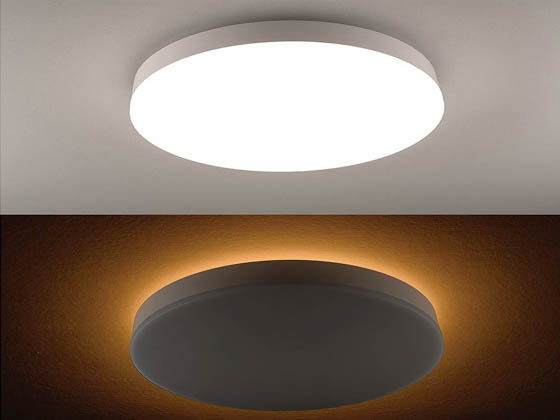 "ETi Solid State Lighting 56549102 FMNL-16IN-1400LM-8-CP5-SV-TD ETI Dimmable 22 Watt Color Selectable (3000K/4000K/5000K) 16"" Flush Mount LED Fixture with Nightlight Trim"