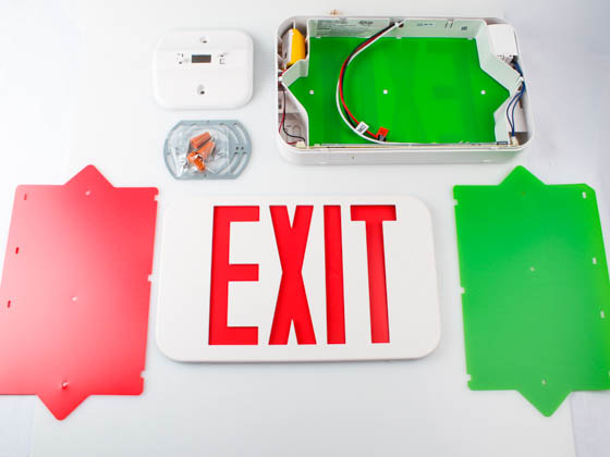Exitronix QXS-U-WB-WH Equity Line Red or Green LED Exit Sign with Battery Backup