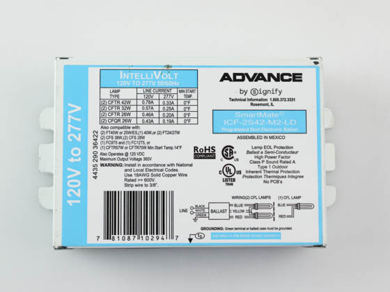 Advance Transformer ICF2S42M2LDK ICF2S42M2LDK (120-277V) Philips Advance Electronic Ballast 120V to 277V for (2) 42W Plug-in CFL