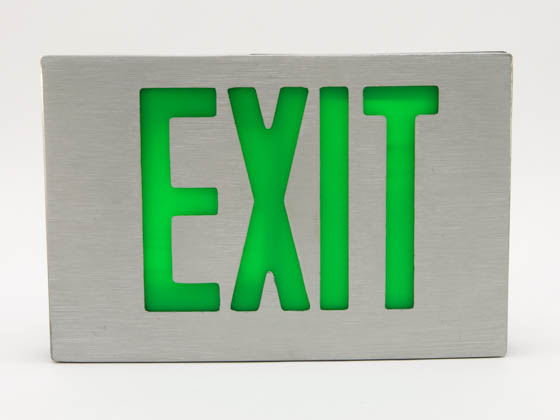 Simkar SK6600058 SDCB1GBA Aluminum LED Exit Sign Green Lettering Battery Backup