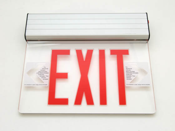 Simkar SK6600026 SELB1RA Aluminum LED Exit Sign Red Lettering Battery Backup