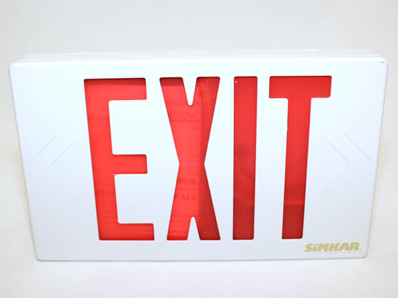 Simkar SK6600012 SLEDBRW LED Exit Sign, Red Lettering, Battery Backup