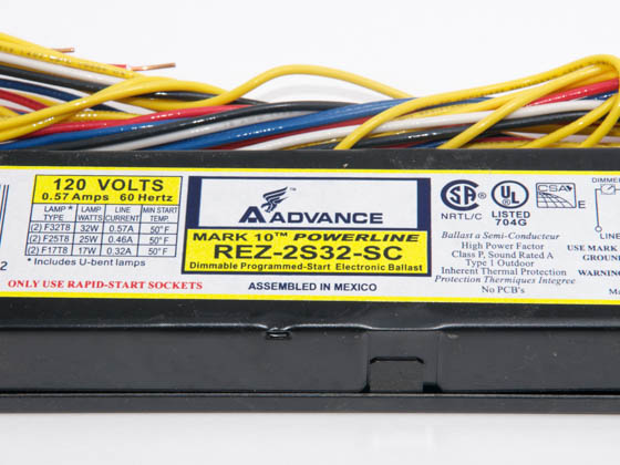 Advance Transformer REZ-2S32 REZ2S32SC35I Philips Advance Electronic Dimming Ballast 120V for (2) F32T8 on Line Voltage Switches