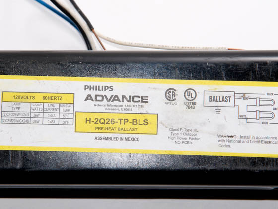Advance Transformer H2Q26TPBLS H2Q26TPBLS (120V) Philips Advance 26 Watt, 120 Volt Two Lamp Plug-in CFL Magnetic Ballast