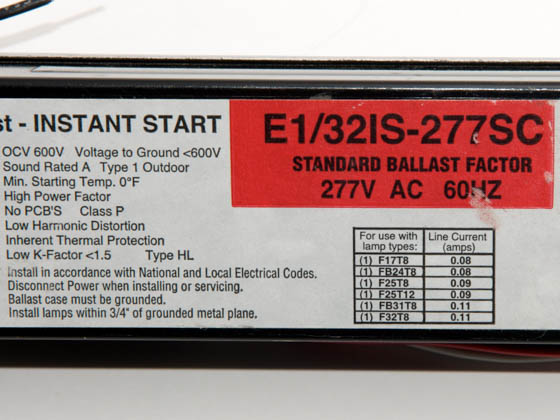 Howard Industries, Inc. E1/32IS-277SC 277 Volt One Lamp F32T8 Electronic Ballast