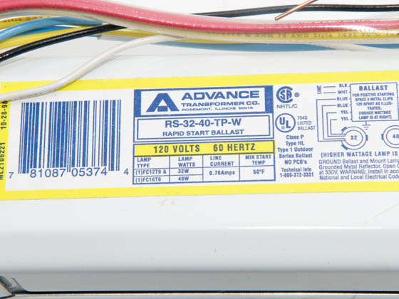 Advance Transformer RS3240TPW RS-32-40-TP-W Philips Advance Magnetic Circline Ballast 120V for (2) FC12T9(1) and FC16T9(1)