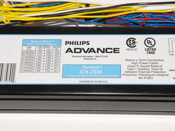 Advance Transformer ICN2S8635M ICN2S8635M (120-277V) Philips Advance 120-277 Volt Two Lamp F96T8 Electronic High Output Ballast