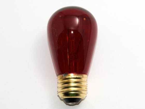 Bulbrite B701711 11S14TR (Trans. Red) 11W 130V S14 Transparent Red Sign or Indicator Bulb, E26 Base