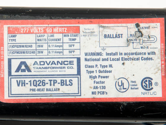 Advance Transformer VH1Q26TPBLSM VH1Q26TPBLSM (DISCONTINUED) Philips Advance 26 Watt, 277 Volt One Lamp Plug-in CFL Magnetic Ballast