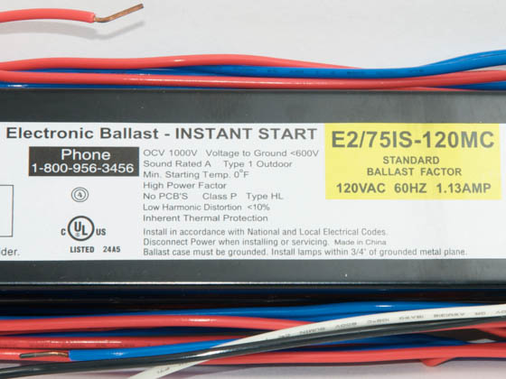 Howard Industries, Inc. E2/75IS-120 E2/75IS-120 MC Howard Electronic Instant Start Ballast 120V for (2) F96T12ES