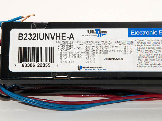 Universal B232IUNVHE-A010C 120-277 Volt Two Lamp High Efficiency F32T8 Electronic IS Ballast, Standard Ballast Factor Model