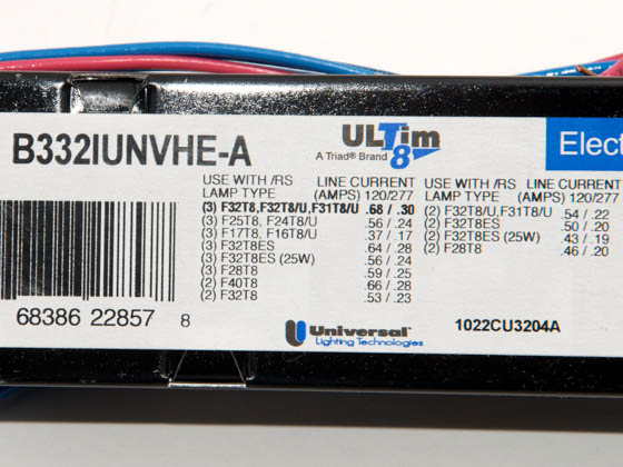 Universal B332IUNVHE-A010C 120-277 Volt Three Lamp High Efficiency F32T8 Electronic IS Ballast, Standard Ballast Factor Model
