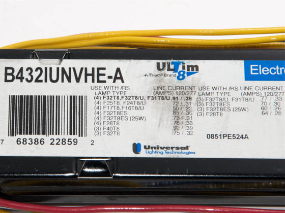 Universal B432IUNVHE-A010C Electronic Instant Start Ballast 120V to 277V for (4) High Efficiency F32T8