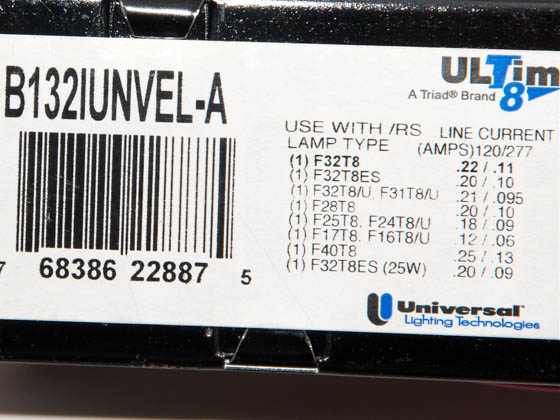 Universal B132IUNVEL-A010C 120-277 Volt One Lamp High Efficiency F32T8 Electronic IS Ballast, Low Ballast Factor Model