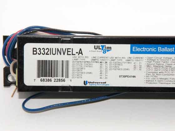 Universal B332IUNVEL-A010C Electronic Instant Start Ballast 120V to 277V for (3) High Efficiency F32T8
