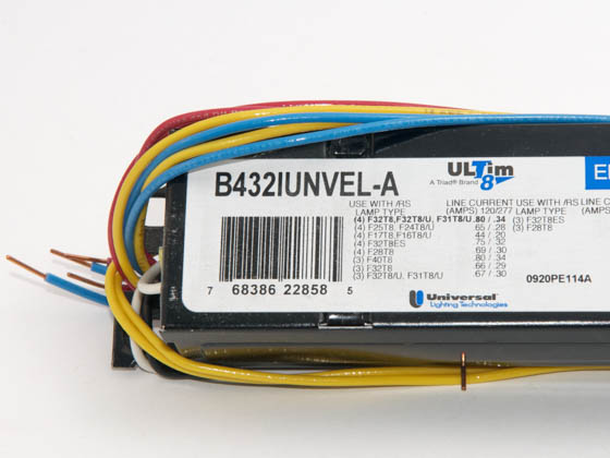 Universal B432IUNVEL-A010C Electronic Instant Start Ballast 120V to 277V for (4) High Efficiency F32T8