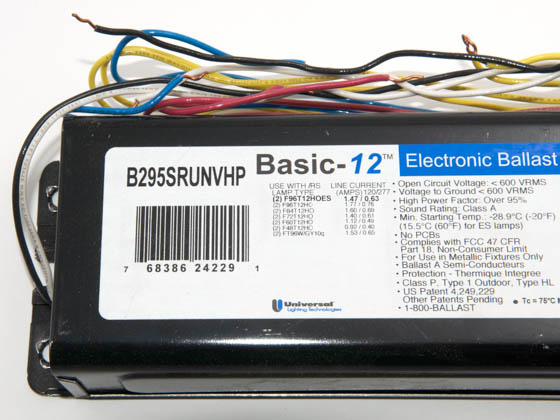 B295SRUNVHP000I  Lamp F T Ballast Wiring Diagram on