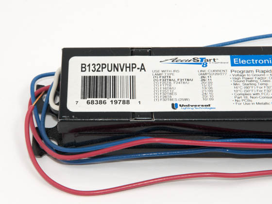 Universal B132PUNVHP-A000I 120-277 Volt One Lamp F32T8 Electronic PRS Ballast, Standard Ballast Factor Model