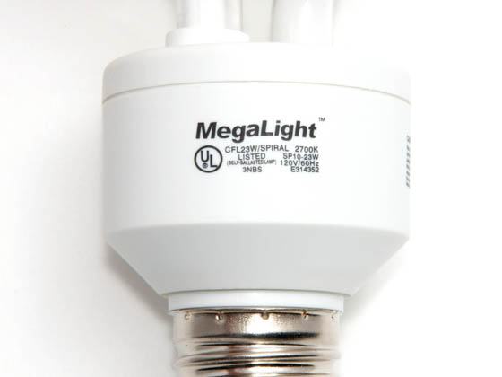 Megalight, Inc. S28023-2700 23W/2700K Spiral 100W Incandescent Equivalent, ENERGY STAR Qualified.  23 Watt, 120 Volt Warm White CFL Bulb