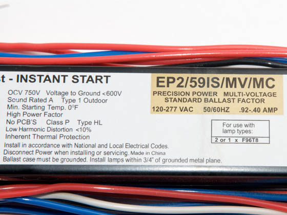 Howard Industries, Inc. EP2/59IS/MV/SC EP2/59IS/MV/SC (DISC Use EP2/59IS/MV/MC/HE) 120-277 Volt Two Lamp F96T8 Electronic Ballast
