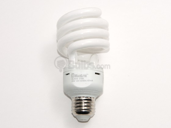 MaxLite M01456 MLM25SWW (25W, Micro) DISCONTINUED 100 Watt Incandescent Equivalent, 25 Watt, Spiral Warm White Compact Fluorescent Medium Base Bulb