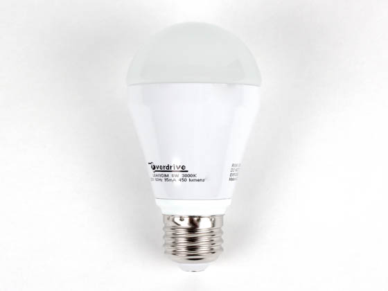 Overdrive 502 L8A19/DIM/30K 8 Watt, 120 Volt, DIMMABLE, LED A-Style Lamp
