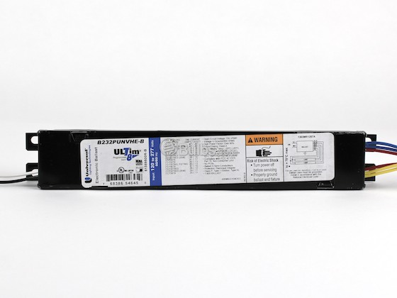 Universal B232PUNVHE-B010C Electronic Programmed Rapid Start Ballast 120V to 277V for (2) F32T8