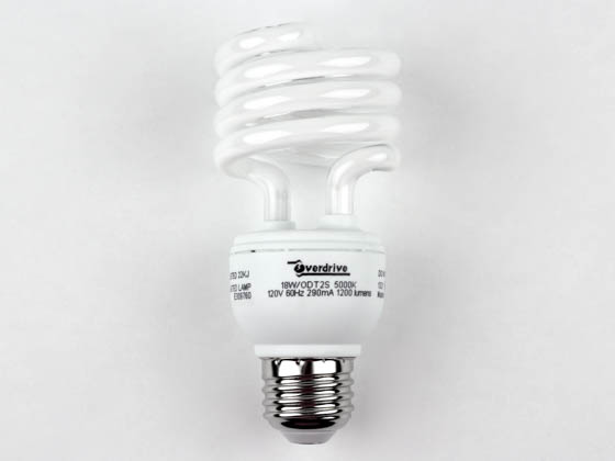 Overdrive 18WODT2S/50K 18W Bright White CFL Bulb, E26 Base