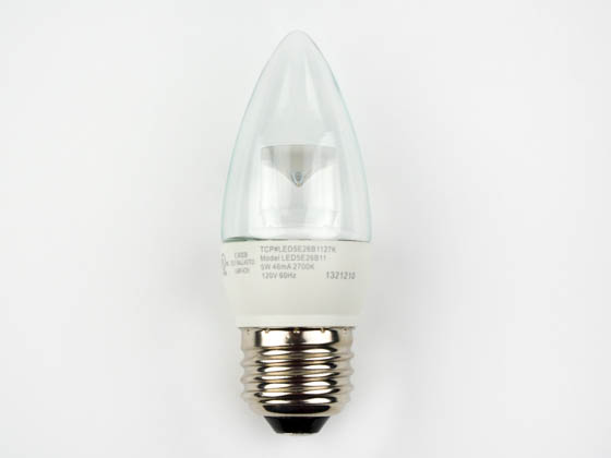 TCP LED5E26B1127K Dimmable 5W 2700K Decorative LED Bulb, E26 Base