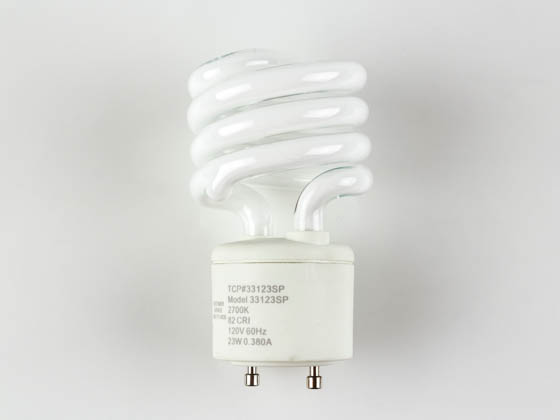 TCP 33123SP 23W Warm White Spiral CFL Bulb, GU24 Base